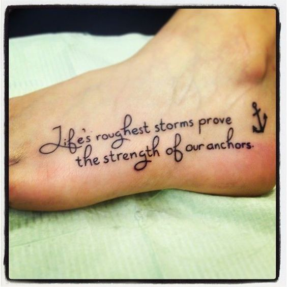 anchor and tattoo quotes on foot about strength