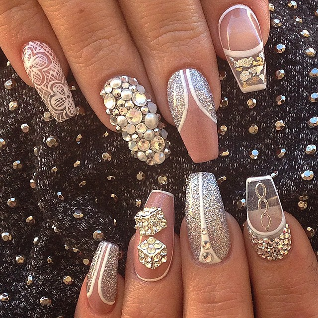 beige-nails-with-gems via