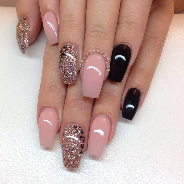Beige Nails With Glitter Via