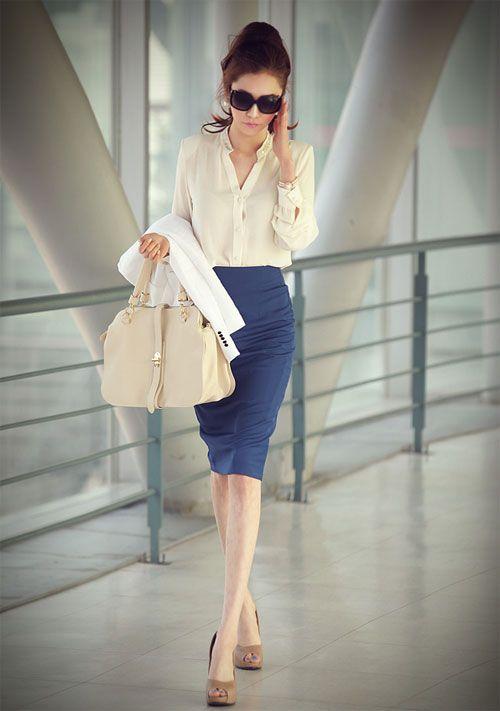 beige-shirt-and-blue-pencil-skirt via