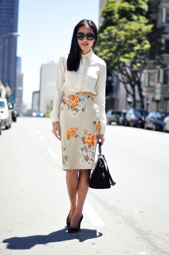 beige-top-and-floral-skirt via