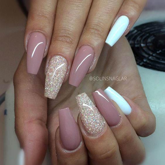 Beige And White Nails With Glitter Via