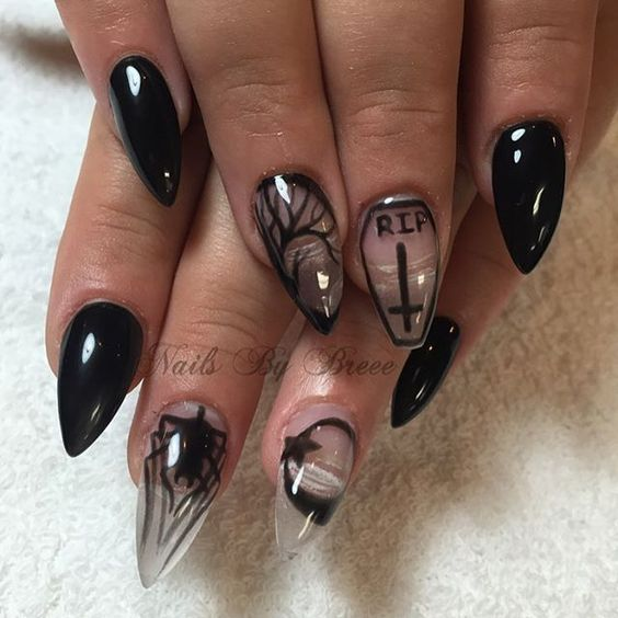 black-crystal-nails via