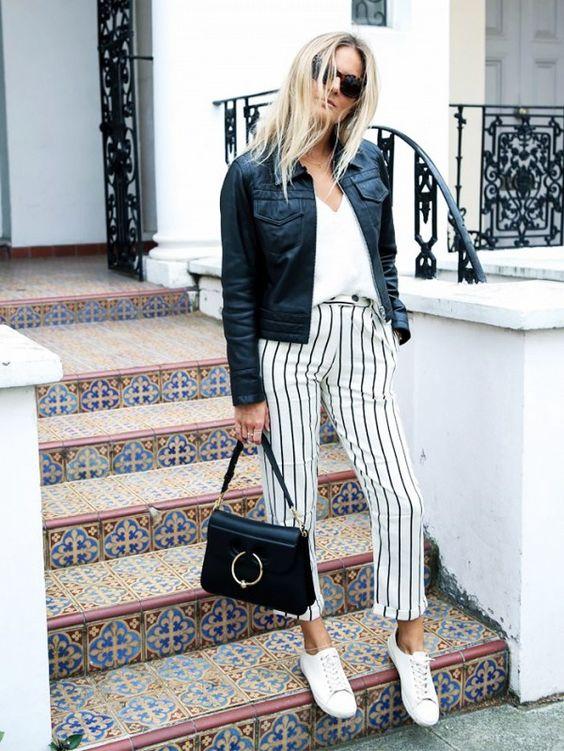 black-jacket-and-striped-pants via