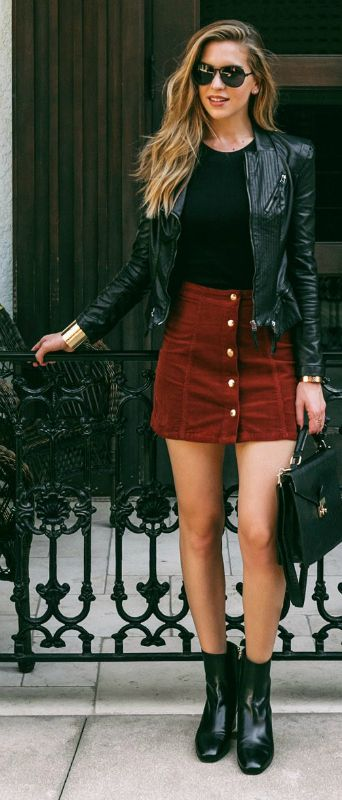 black-leather-jacket-red-skirt-and-black-boots via