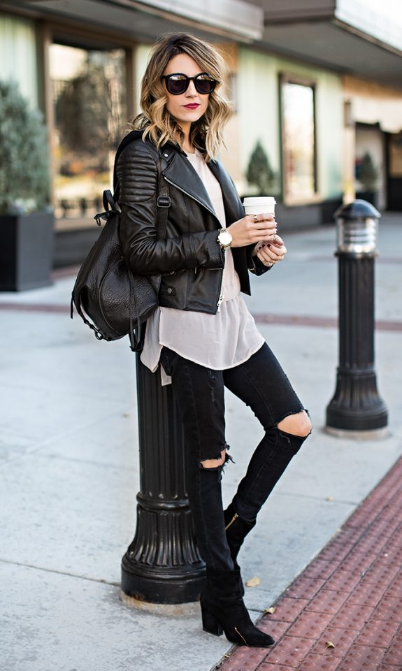15 Cool Styles with Leather Jackets - Pretty Designs
