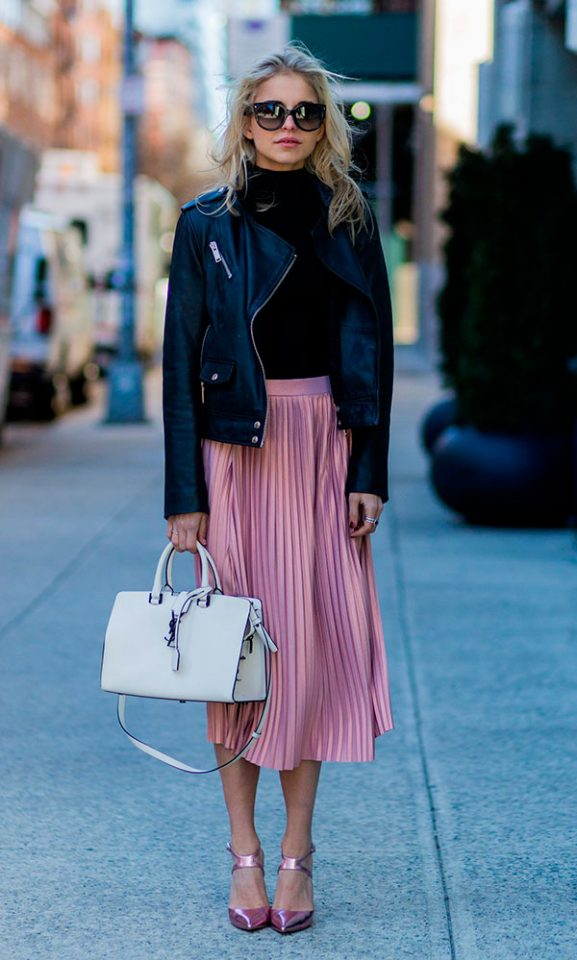 black-leather-jacket-and-pink-skirt via