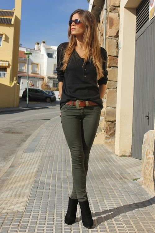 Black Top and Khaki Pants via