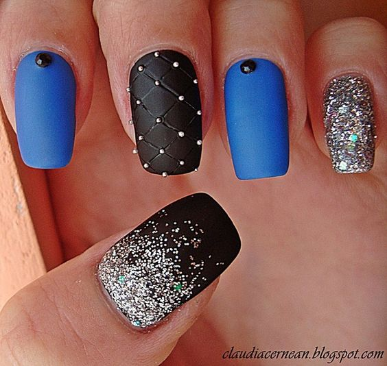 Black and Blue Nails with Glitter via