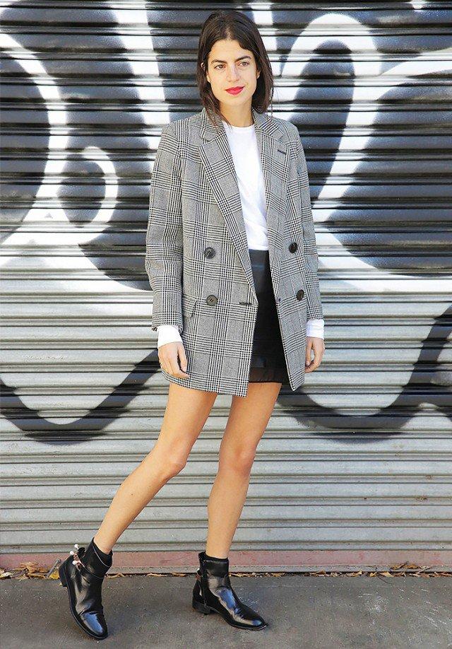 Black and White Outfit with Plaid Blazer via