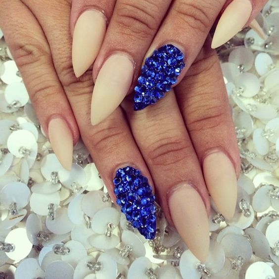 Blue Glitter Nails via
