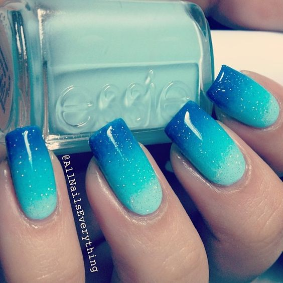 Blue Ombre Nails via