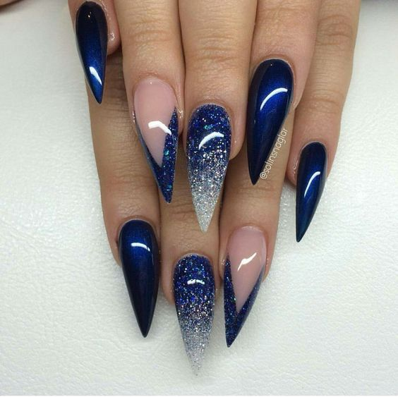 Blue Stiletto Nails via