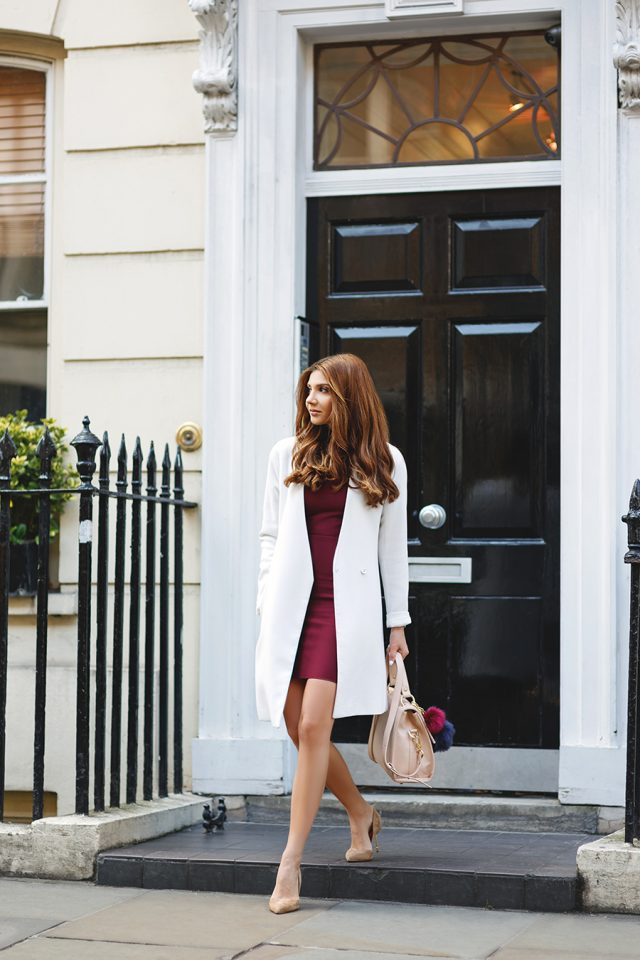 burgundy-dress-and-white-coat via