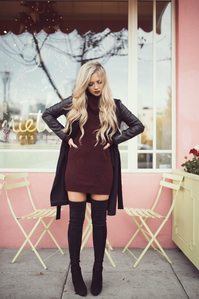 burgundy-knit-dress via