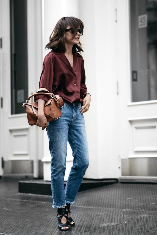 burgundy-shirt-and-denim-jeans via