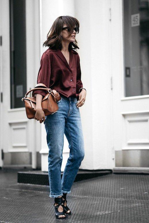 burgundy-shirt-and-denim-jeans via