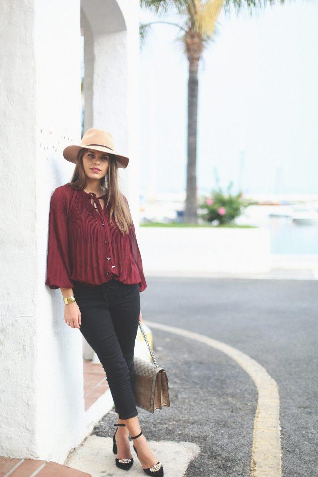 burgundy-top-and-black-pants via