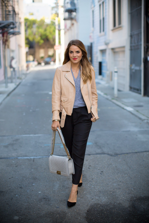 camel-leather-jacket-and-black-pants via
