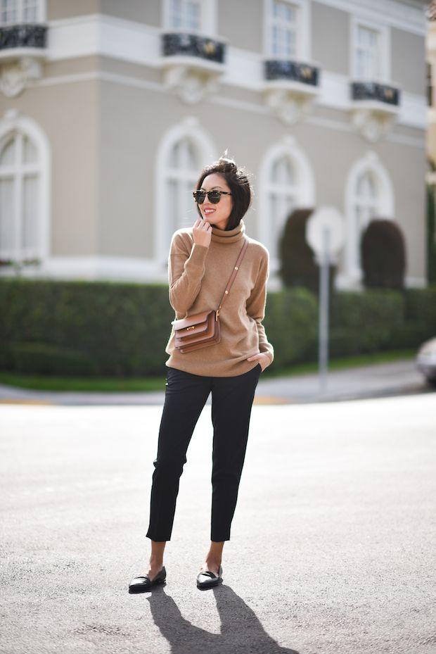 camel-turtleneck-and-black-cropped-pants via