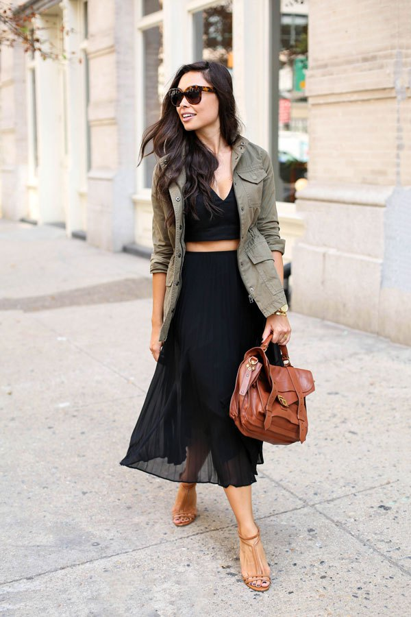 Crop Top, Long Skirt and Khaki Blazer via
