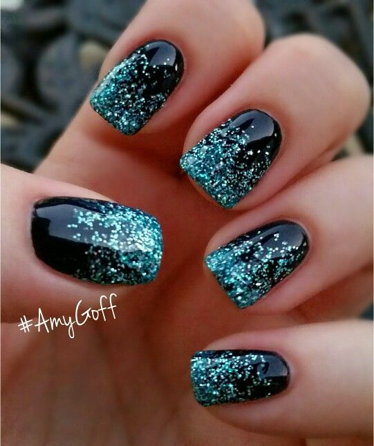 Deep Blue Nails with Bright Glitter via