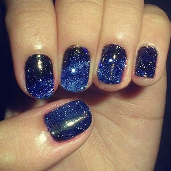Deep Blue Nails with Glitter via