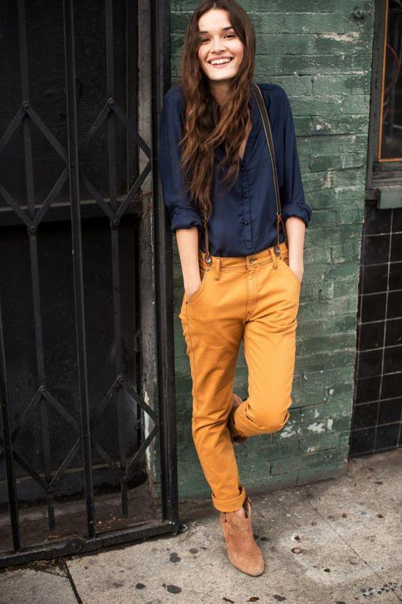 deep-blue-top-and-mustard-pants via