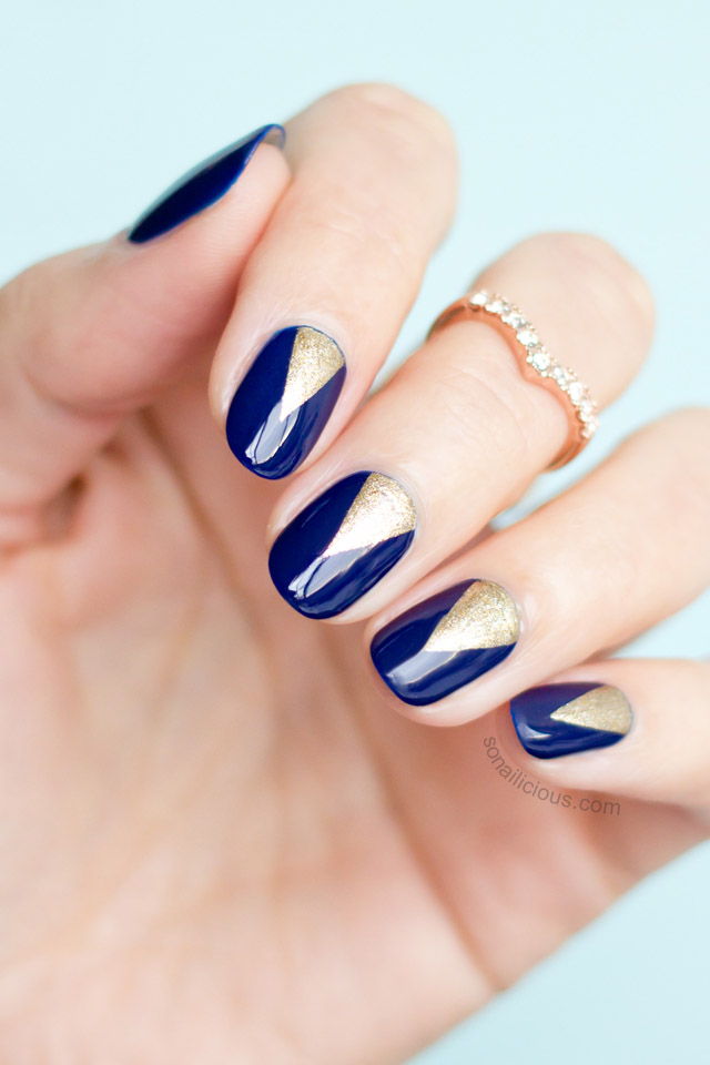 Deep Blue and Golden Nails via