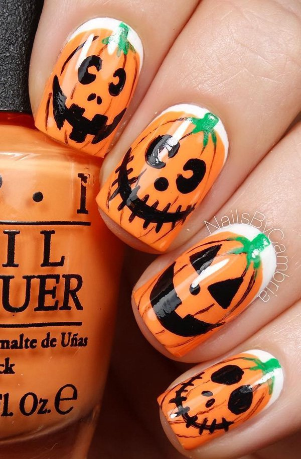 20 cool easy halloween nail art ideas halloween nail designs 2017 funny pumpkin nails via prinsesfo Choice Image