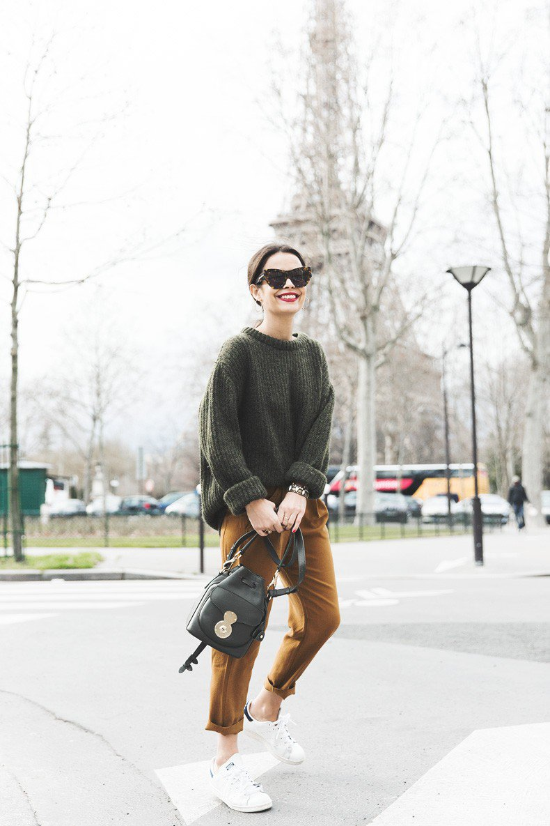 green-sweater-and-mustard-pants via