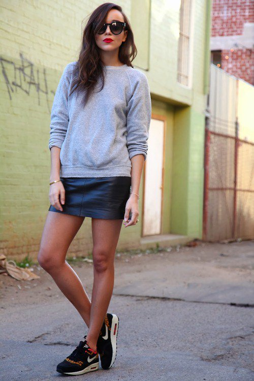 Grey Jumper and Leather Skirt via