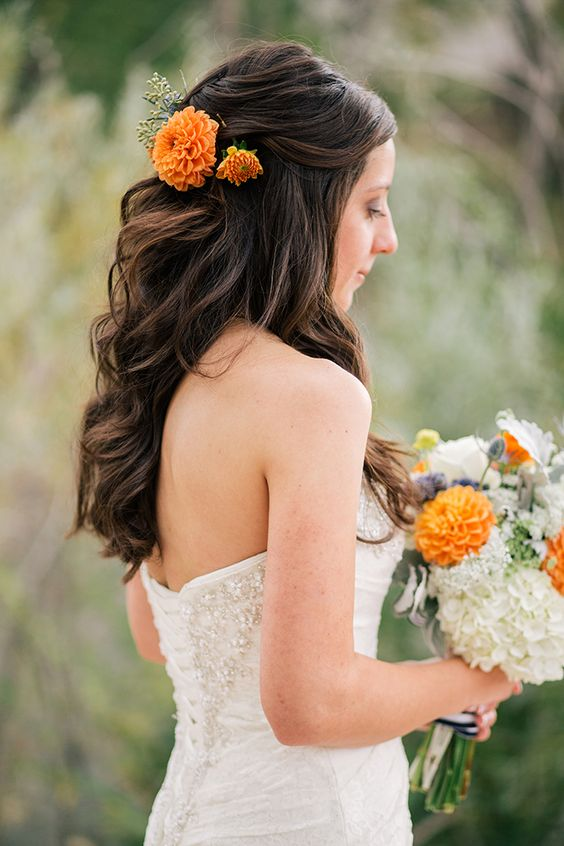 half-up-hair-with-flowers via
