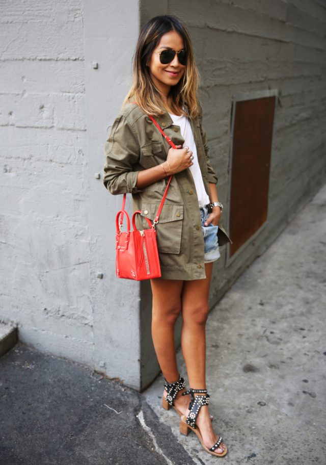 Khaki Blazer, White Tops and Shorts via