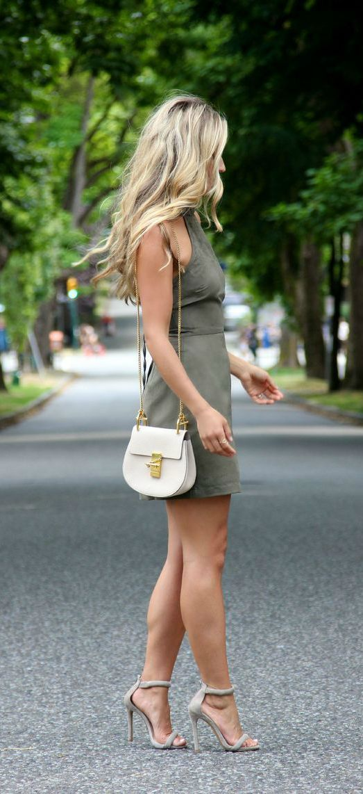 Khaki Dress and Grey Heels via