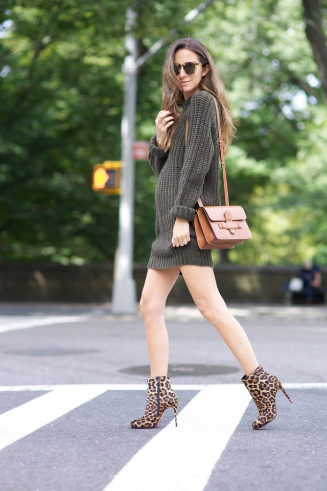 Knit Khaki Dress and Leopard Boots via