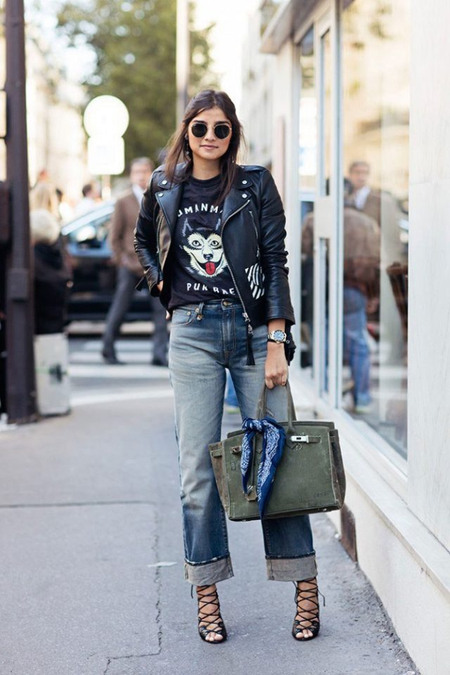 leather-jacket-cute-t-shirt-and-rolled-jeans via