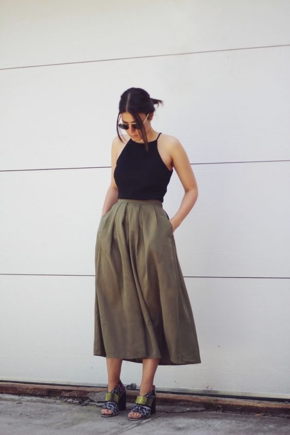 Midi Khaki Skirt and Tank Top via