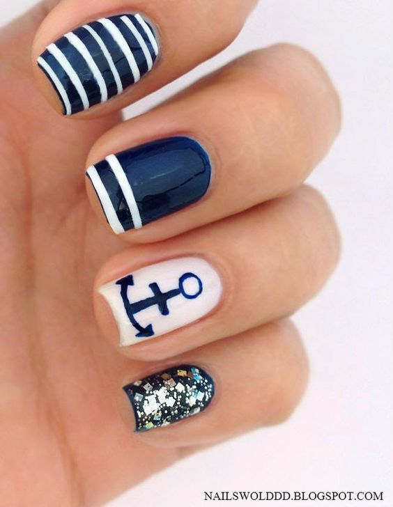 Nautical Blue Nails via