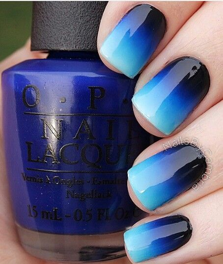 Ombre Blue Nails via