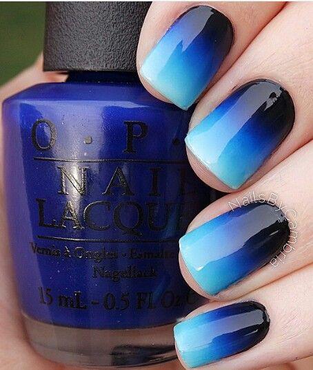 Ombre Blue Nails via
