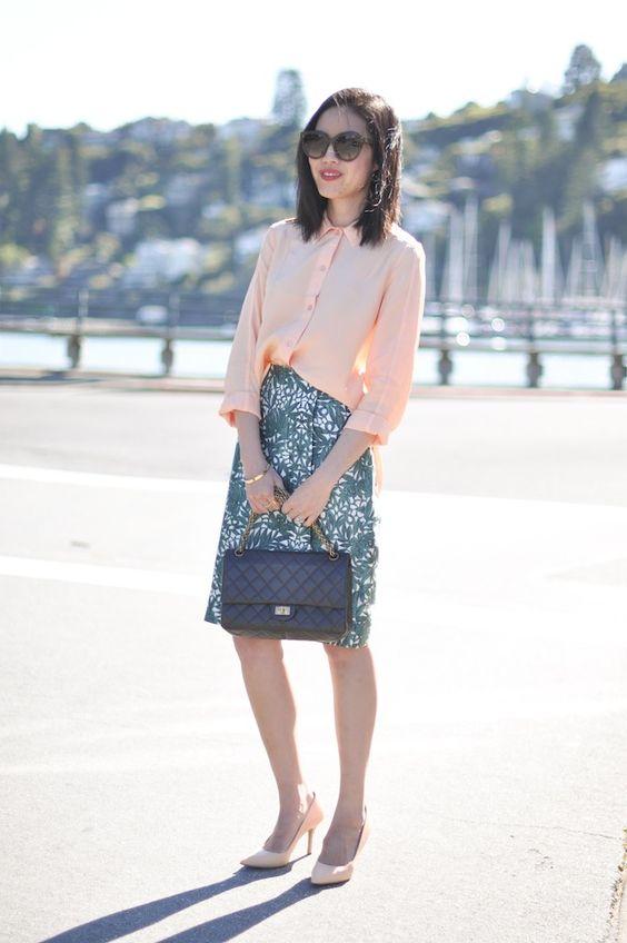 orange-top-and-leave-skirt via