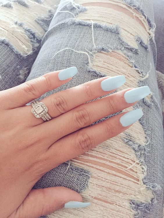 Pale Blue Nails via