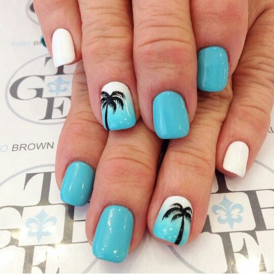 Pale Blue, White Nails with Palm Trees via