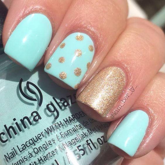 Pale Blue and Golden Nails via