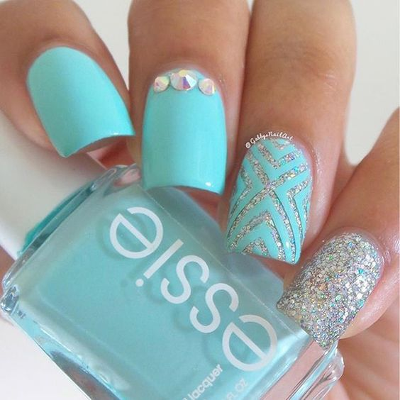 Pale Blue and Sliver Nails via