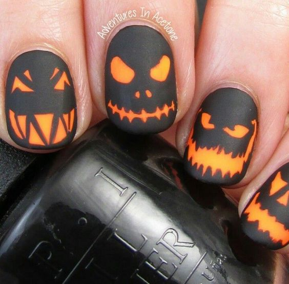 pumpkin-face-nails via