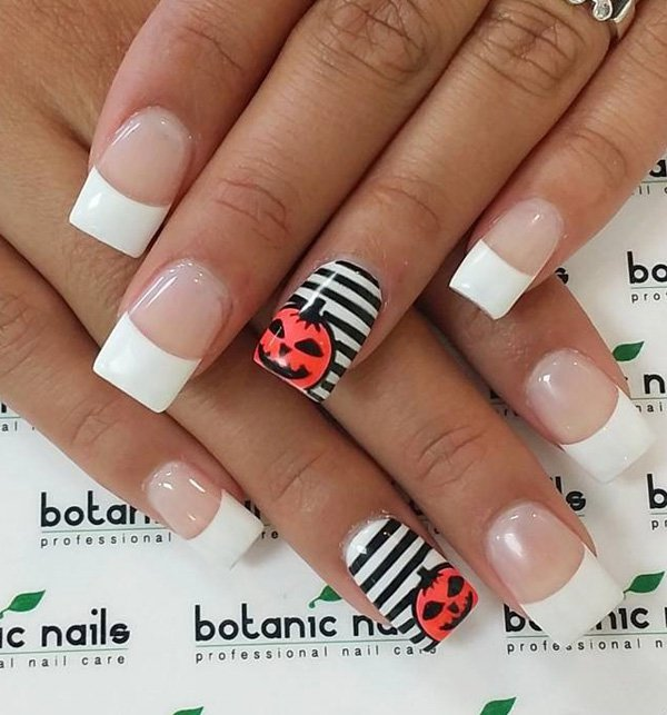 pumpkin-and-striped-nails via