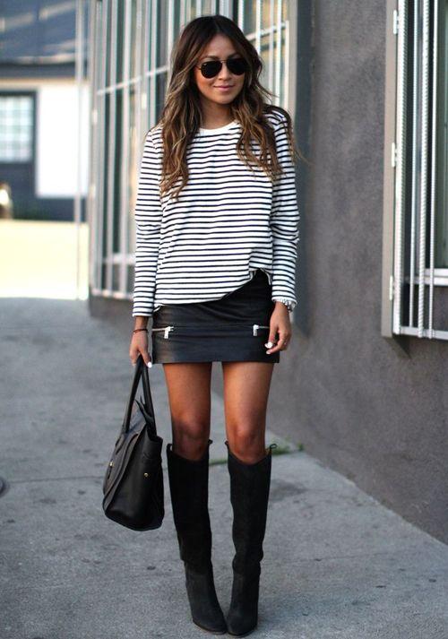 Striped Top and Black Skirt via