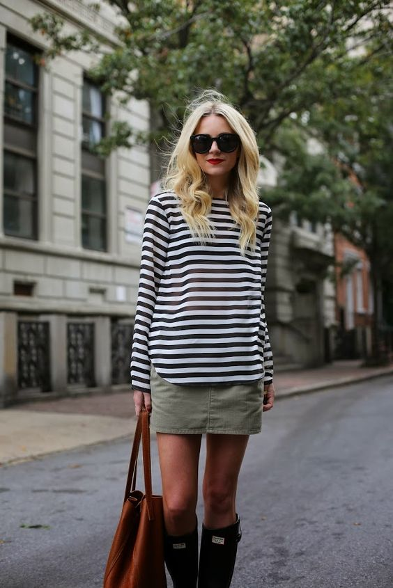 Striped Top and Khaki Pencil Skirt via